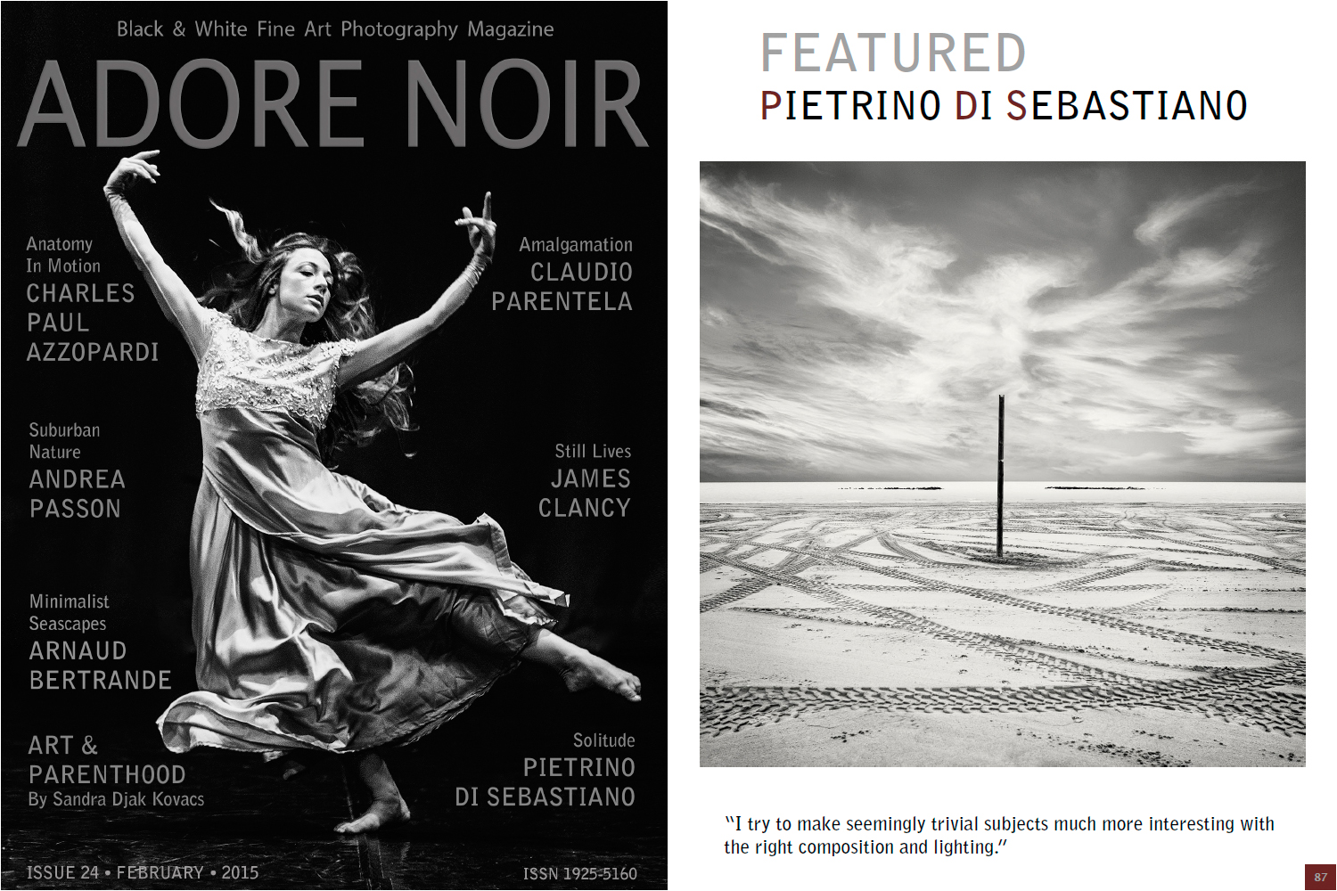 Black white fine art photography magazine adore noir issue 24 february 2015 special thanks to the editors of adore noir magazine